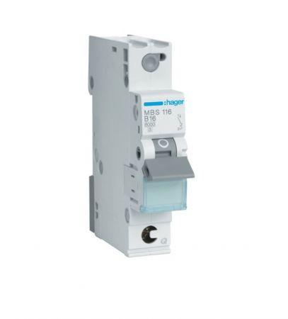 Wyłącznik nadprądowy MCB Icn=6000A 1P B 16A QuickConnect | MBS116 Hager